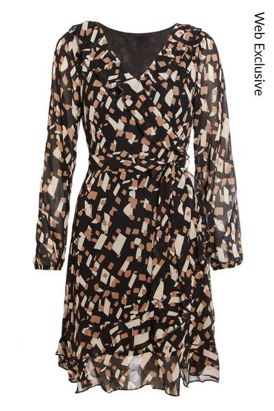Brown Abstract Wrap Skater Dress